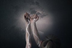 Still alive (realize_photo) Tags: selfportrait manipulation photoshop conceptual energy fineart lightning light thunder hands arms arm dark strong strength emotion emotional