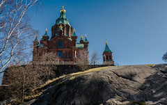Uspenski Cathedral.. (ckollias) Tags: cathedral finland helsinki architecture belief blue building buildingexterior builtstructure clearsky dome lowangleview nature nopeople outdoors placeofworship religion sky spire spirituality thepast tree