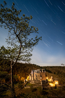 Startrail over Eltz Castle