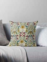 aziza pearl redbubble throw pillow (Scrummy Things) Tags: sharonturner aziza morocco marrakech marrakesh illustration paintedwood flowers floral pattern surfacedesign boho bohemian summer festival redbubble pillow cushion