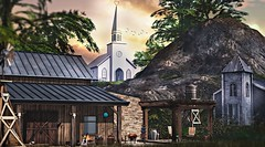 Town of believers (Alexa Maravilla/Spunknbrains) Tags: notsobad 6republic n4rs artisanfantasy {mossmink} serenitystyle gardenbyanc happymood neveryoumind heart secondlife sl church outdoors country photography landscape home interiordesign architecture watertown windmill western