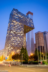 Beijing CCTV building with new CITIC Tower (China Zun) in the background during blue hour (patuffel) Tags: citic tower china zun skyscraper blue hour cctv building underpants beijing guomao cbd night lights