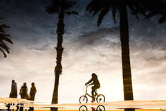 (AmirsCamera) Tags: barcelona spain beach reflection water bicycle people walking street streetphotography labarceloneta fujifilm fuji x100s colour color sky afternoon