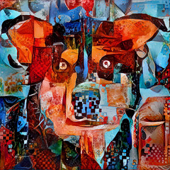 Bright Eyes (Ross Studio) Tags: anthonyross photomanipulation photoshop faceon rossstudio purebred publicdomain face black blue color colorful orange red green brown purple yellow white eyes abstract abstractart abstractdesign abstractpainting animal art artlovers contemporaryart cute digitalillustration experimentalart hybrid illustration dog doggy