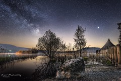 Early morning at Llangorse Lake (karlmccarthy1969) Tags: reflection stars tamron nikon longexposure stack stacking tree glow kingarthur stone rock sword night water llangorse lake astro milkyway