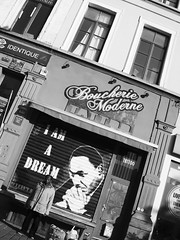 Am I Dreaming ? (Ren-s) Tags: bnw black blackandwhite blackwhite white noir blanc noiretblanc noirblanc nb bw contrast lumière light composition bruxelles brussels belgique belgium europe spring printemps 2018 people man personne homme city urban urbain ville centre capitale capital immeuble fenêtres boucherie butcher dr martin luther king graff graffiti olympus em10 street rue photography photographie