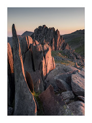 Castle of the Winds (Dave Fieldhouse Photography) Tags: snowdonia wales nationalpark northwales glyderfach glyderfawr glyders wilderness wildcamp rocks mountains mountain snowdon sunset dusk colour landscape castellygwynt summit summer fuji fujifilm fujixt2 wwwdavefieldhousephotographycom glow
