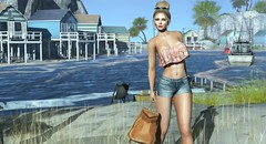 Beach Blonde (LynaRay) Tags: c88 ultra runaway session justbecause michan beach outdoor zenith addams ripped abs sl secondlife shorts ruffle croptop tubetop updo sunglasses crochet backpack
