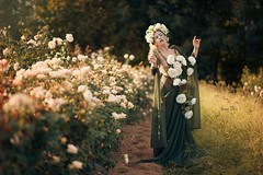 "TEATRONATURA ""Eterea rosae"" (valeriafoglia) Tags: ethereal rose white green art atmosphere fantasy fairy flowers delicate beautiful beauty creative composition capture colors creature nature model makeup magic light lights photo photography portrait pretty outfit romantic"