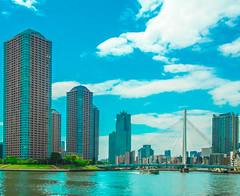 River City, Tokyo (Eshke04) Tags: river sumida tokyo skyscrapers buildings architecture condominium bridge boat sky clouds green