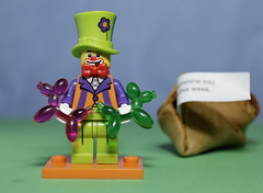 The Party Clown with Balloon animals (N.the.Kudzu) Tags: tabletop lego miniature clown manualfocus primelens canondslr lensbabyburnside35
