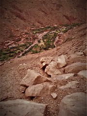 village in a valley (portrait) (SM Tham) Tags: africa morocco atlasmountains arid landscape valley village buildings trees plants oasis rocks river water farming