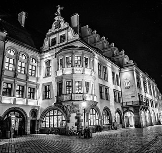 Hofbräuhaus Munich on a cold night in february with light snowfall