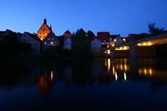 Serenade @ Besigheim, Baden-Wuerttemberg (Nathalie_Désirée) Tags: besigheim bietigheim ludwigsburg badenwürttemberg germany europe spring may evening bluehour bridge oldtown reflection light lights lighting townhall cityhall villagehall village town enz water waterscape house houses river timberedhouse roof roofs silhouette peaceful canoneos600d sigma1020 timeexposure landscape picturesque pictorial scenic romantic serenade harmony window windows goodevening wideanglelens beesga besge
