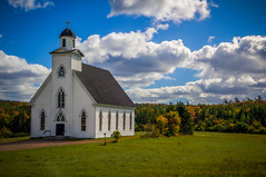 St. Mary of the Angels Roman Catholic Church (donnieking1811) Tags: canada capebreton kingsville victorialine church outdoors countryside autumn fall sky clouds blue steeple cross white hdr canon 60d lightroom photomatixpro stmaryoftheangels romancatholicchurch