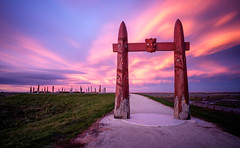 Atea a Rangi on fire (lizcaldwell72) Tags: longexposure hawkesbay newzealand sunset napier cloud water sky celestialcompass ateaarangi light