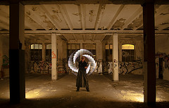 Man in focus II (Dancelightning) Tags: night people oneexposure nophotoshop lapp lightart lichtkunst sony samyang