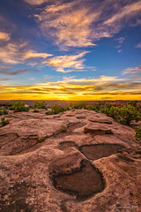 Sunset rock patterns (NettyA) Tags: 2017 canyon coloradoplateau deadhorsepointstatepark moab northamerica sonya7r usa utah clouds landscape rocks sky sunset travel