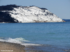 Spring Bluffs (JamesEyeViewPhotography) Tags: lake michigan empire bluffs snow water waves sand dunes beach spring april nature landscape lakemichigan northernmichigan sleepingbeardunesnationallakeshore trees sky greatlakes jameseyeviewphotography