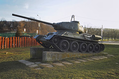 Soviet T34 tank, Sanok, Poland 31/01/2018 (Gary S. Crutchley) Tags: war memorial t34 t3485 soviet russian tank sanok southern south poland polski history heritage east eastern europe travel olympus epl1
