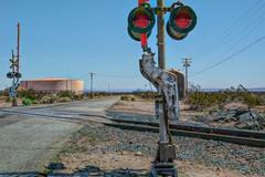 Railway Signal (joe Lach) Tags: train freight union pacific building america crossing railway signal railroad sunshine star tracks mojave desert mohave town antelope valley california yellow red blue portraitofatrain joelach
