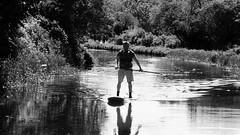 fun on the water 06 (byronv2) Tags: canal unioncanal water rowing spring sunny sunshine sunlight peoplewatching candid street edinburgh polwarth viewforth blackandwhite blackwhite bw monochrome man barge boat paddleboard