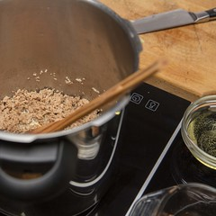 Brown pork stock ingredients. (annick vanderschelden) Tags: brown pork stock ingredients bouillon water wine whitewine bowl measuringcup dish roast food pressurecooking