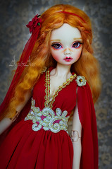 Fire Elf (AyuAna) Tags: bjd ball jointed doll dollfie ayuana design handmade ooak clothing clothes dress set outfit fantasy style fashion couture sewing sewingfordolls slim msd mnf minifee size daraki remy light tan skin