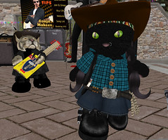 Pardner Jilly and Rascal Olde (Teal Freenote) Tags: tealfreenote jillanmcmillan oldesouleldemar tiny tinies virtualworld sl secondlife