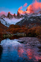Frozen lake (Valter Patrial) Tags: mountain range peak hill landscape snowcapped alpenglow scenic ridge valley scenery mountains trees autumn clouds colors land patagonia elchaltén