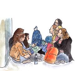 Lunch break at the Rijksmuseum (h e r m a n) Tags: herman illustratie tekening drawing illustration dagboek diary journal mijnleven mylife museumvisitor museumbezoeker museum amsterdam rijksmuseum rijks lunch lunchbreak lunchpauze meisjes girls zevenmeisjes sevengirls grond floor mobilephone mobile mobiel telefoon telephone apple