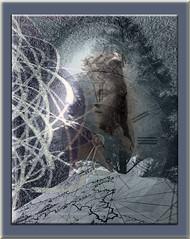 Irene, el espacio y el tiempo (seguicollar) Tags: imagencreativa photomanipulación art arte artecreativo artedigital virginiaseguí retrato reloj árbol mapa cintas misterio tiempo espacio
