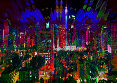 Lights (brillianthues) Tags: fractal city urban skyline lights night colorful collage photography photmanuplation photoshop