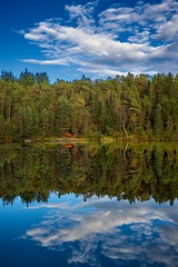 Relaxation in the woodland (Vest der ute) Tags: xt2 norway rogaland haugesund eivindsvatnet water waterscape woodland lake sky reflections hammock trees clouds mirror bluesky landscape fav25 fav200