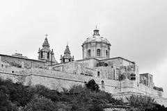 Mdina (Douguerreotype) Tags: monochrome blackandwhite malta buildings dome mono architecture city cathedral urban wall bw church