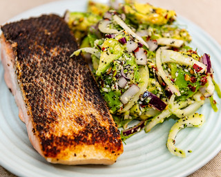 Monday dinner. Pan-fried salmon and fennel salad.