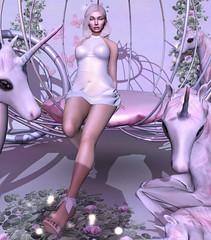 Unicorns (Juli Hancroft) Tags: kathleen´s stealthic catwa maitreya reign white dress beautiful girl secondlife sl second life fashion shopping queen unicorn beauty sexy hot blog blogger pink horn shadows flowers shoes heels leg eyes