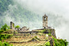 S. Faustino & vineyard (Armand K) Tags: alps grosotto italia italy sfaustino valtellina belltower campanile castello castle chiesa church fog landscape medieval public rainyday ruins vineyard