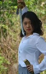 Ninja (steveedreff) Tags: asiangirl asianwoman asian girl female pose portrait eyes beautiful model woman japan japanese fight sword