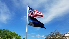 May 14, 2018 - Old Glory and the Thin Blue Line for Law Enforcement Week. (ThorntonWeather.com)