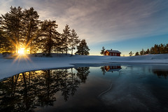 Red cabin (strupert) Tags: reflections snowy ice sunset nikon winter norway