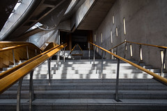 Scottish Parliament Tour May 2018 (48 of 119) (Philip Gillespie) Tags: scottishparliament visitscotparl scotland parliament edinburgh canon 5dsr architecture windows lights tour seats flags dog pets water interior design hills arthurs seat city sky sun art sculpture mono monochrome colour color black white blue green red yellow orange stairs boat style curves lines chamber epmg photography meetup group people men women boys girls kids chambers meetings summer grass trees