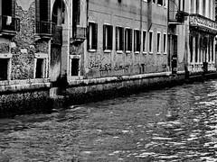 Canal (markb120) Tags: venice channel canal ditch gutter culvert watercourse water building window casement gap light door entry wall side paries backstop quay bw