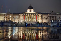 A brief visit to Trafalgar Square (PeterThoeny) Tags: london unitedkingdom uk trafalgarsquare thenationalgallery building reflection water waterreflection people stairs night lights sky city architecture longexposure sony sonya7 a7 a7ii a7mii alpha7mii ilce7m2 fullframe fe2870mmf3556oss 1xp raw photomatix hdr qualityhdr qualityhdrphotography fav200