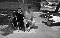 Ice Cream & Shades (Robert S. Photography) Tags: bench marriedcouple icecream people bw heatwave spring monochrome sleeping relaxing brooklyn caesarsbay nyc sony dscwx150 iso100 may 2018