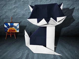 Origami Sitting Cat by Taichiro Hasegawa
