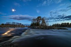Malkakoski rapids (Arttu Uusitalo) Tags: malkakoski stream rapids moon moonlight light evening night landscape kyrönjoki finland spring wideangle canon eos 5d mkiv samyang 14mm sky