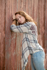 Senior Pic with Barn (Photos By Bill in WV) Tags: senior seniors highschool girl 2018 barn red flannel jeans brunette woman women country rural wv westvirginia canon 70d
