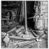 The abandoned workshop (Photos And All That) Tags: abandoned workshop tools lamp blackandwhite blackwhite monochrome monochromatic monochromes old delapidated worn cobwebs stool bricks brickwork dirt dirty dust metal rust rusty derelict fuji fujix100 fujixseries x100