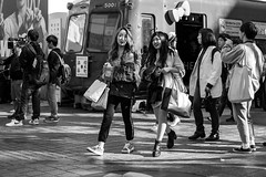 Shop Til You Drop (burnt dirt) Tags: asian japan tokyo shibuya station streetphotography documentary candid portrait fujifilm xt1 bw blackandwhite laugh smile cute sexy latina young girl woman japanese korean thai dress skirt shorts jeans jacket leather pants boots heels stilettos bra stockings tights yogapants leggings couple lovers friends longhair shorthair ponytail cellphone glasses sunglasses blonde brunette redhead tattoo model train bus busstation metro city town downtown sidewalk pretty beautiful selfie fashion pregnant sweater people person costume cosplay shopping bag